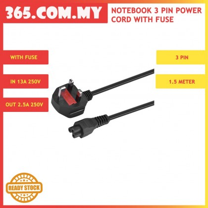 3 Pin Power Cord With Fuse For Notebook - 1.5M