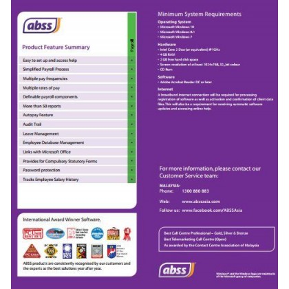 ABSS (MYOB) Payroll Version 11 Software (PCB Compliance) ~ FREE SHIPPING + FREE BITDEFENDER INTERNET SECURITY